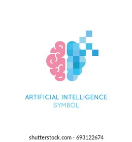Vector symbol related to artificial intelligence, machine learning, digital brain and thinking process. Artificial intelligence logo