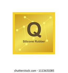 Vector symbol of Silicone rubber (Q) polymer on the background from connected macromolecules