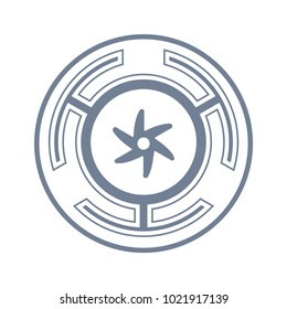 Vector symbol: The Strophalos, or Hecate's wheel, ancient Greek symbol, and an emblem of the initiatory lunar Goddess Hecate or Diana Lucifera, and her triple aspect.