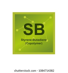 Vector symbol of Styrene Butadiene Copolymer (SB or SBR) polymer on the background from connected macromolecules