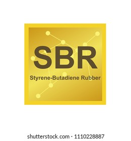 Vector symbol of styrene-butadiene rubber (SBR) polymer on the background from connected macromolecules