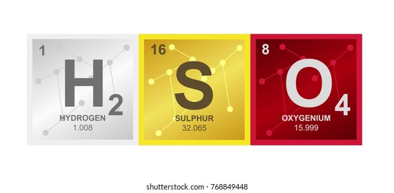 Vector symbol of Sulfuric acid consisting of hydrogen, sulfur and oxygen on the background from connected molecules