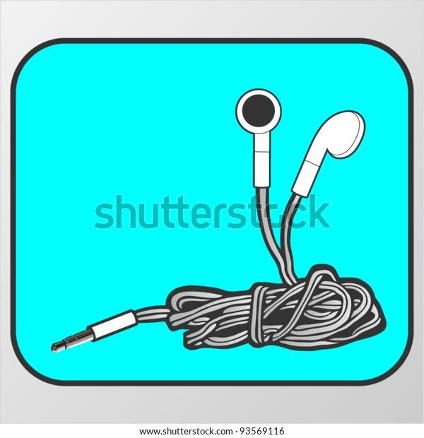 Vector symbol of tangled earphones