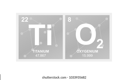 Vector symbol of titanium dioxide which is called titanium white on the background from connected molecules