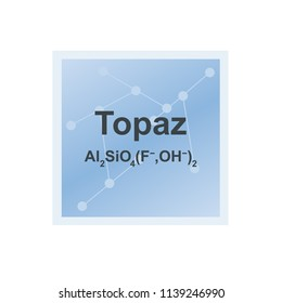Vector symbol of Topaz silicate mineral from the Mohs scale of mineral hardness on the background from connected molecules