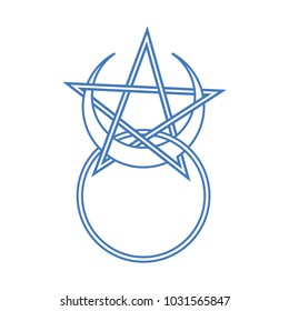 Vector symbol for wiccan and occult esoteric community: Horned God symbol with pentacle. Could be also used as wizard amulet with pentacle or pentagram and moon cycles. Horned God avatar or symbol.