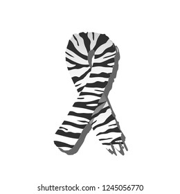 Vector symbol for World Day Rare Disease awareness with zebra print rubbon. Isolated zebra-print logo with shadow. White background