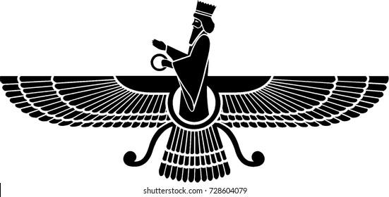 Vector symbol of Zoroastrianism religion, faravahar