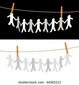 vector symbolic illustration with people on rope