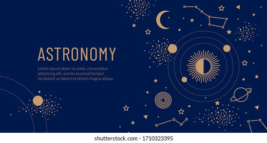 Vector symbols of astronomy, astrology and galaxy. Golden space objects, the sun, planets in orbit and stars on a blue background. Trendy magic concept for landing page, web banner or invitation.