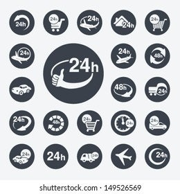Vector symbols - delivery of purchase a home within 24 or 48 hours