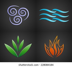 Vector symbols of four elements of nature: air, water, land, fire