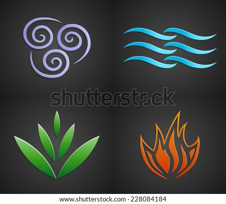 Vector Symbols Four Elements Nature Air Stock Vector Royalty Free