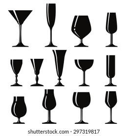 Vector symbols of glasses for drinks.