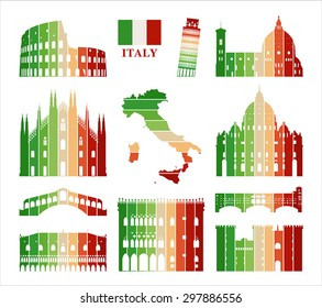 Vector symbols of Italy. Map of Italy.