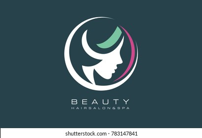 Vector symbols and logo designs idea with women portrait silhouettes. Elegant and classy graphics for spa, wellness, beauty salons and hair studios. Beauty requires constant care for the perfect look