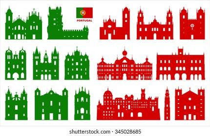 Vector symbols of Portugal. Portuguese Architecture.