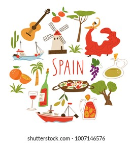 Vector symbols of Spain. Culture, food and architecture.