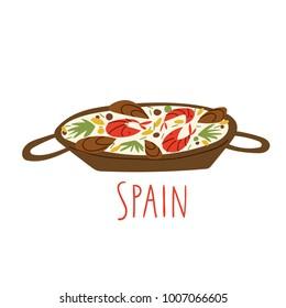 Vector symbols of Spanish food. Paella