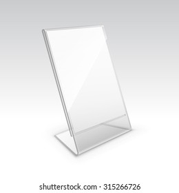 Vector Table Blank Transparent Plastic Stand Holder for Menu Paper Calendar Card Isolated on White Background