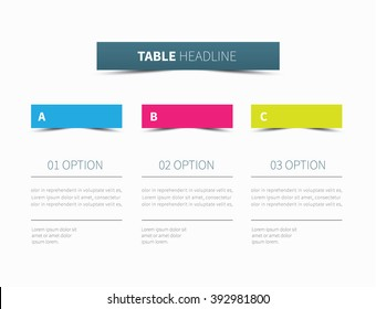 vector table presentation divided into 3 columns / infographic tabular graphic