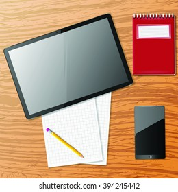 Vector tablet,phone and note paper on wooden table