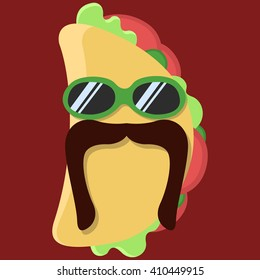 Vector taco cartoon with glasses and mustache isolated icon.