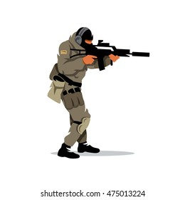 Vector Tactical shooting warrior Cartoon Illustration. The shooter is moving with a gun. Unusual Logo template isolated on a white background