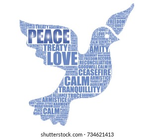 vector tag cloud with a dove, symbol of peace