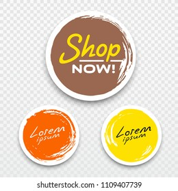 Vector Tag label circle brush stroke style colorful collections background, vector illustration