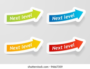 Vector Tag Next Level Arrow Label.