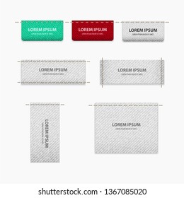 Vector of tag set for clothes With texture for realism with place for text.
