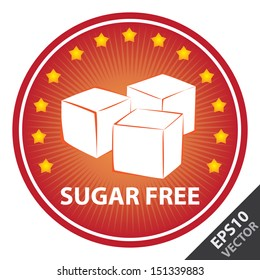 Vector : Tag, Sticker or Badge For Healthy, Weight Loss, Diet or Fitness Product Present By Red Badge With Sugar Free Text, Cube Sugar Sign and Little Star Around Isolated on White Background