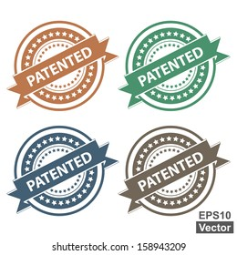 Vector : Tag, Sticker, Label or Badge For Product Certification or Product Verification Present By Colorful Patented Ribbon on Colorful Icon Isolated on White Background