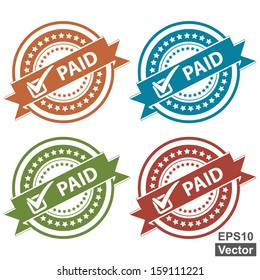 Vector : Tag, Sticker, Label or Badge For Product Certification or Product Verification Present By Colorful Paid Ribbon With Check Mark Sign on Colorful Icon Isolated on White Background