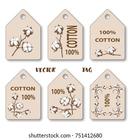 Vector tags with an illustration of a cotton branch. 100 cotton.