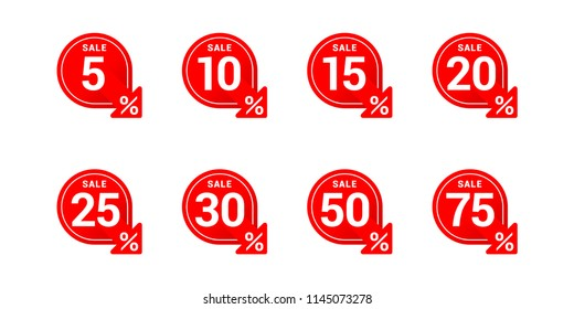 Vector tags for sales in rounded decoration with arrow down and different percentage - 5%, 10%, 15%, 20%, 25%, 30% 50% and 75%