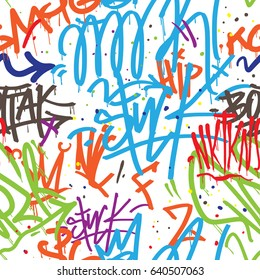Vector tags seamless pattern. Graffiti background.