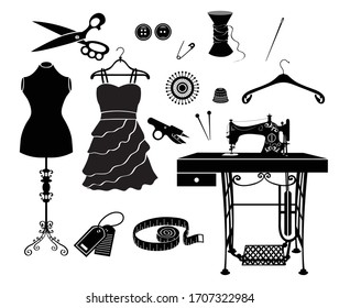 Vector tailor icons set with sewing and knitting tools and accessories. Black and white silhouette. Sewing machine, needle, thread, bobbin, mannequin, ironing, needle bed, scissors, hanger, button.