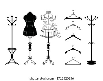 Vector tailor icons set with sewing and knitting tools and accessories. Tailor shop and sewing tool icons. Flat design concepts for sewing dress, vintage mannequins and dress hangers.