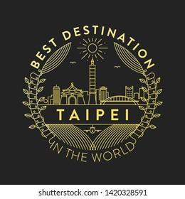 Vector Taipei City Badge, Linear Style