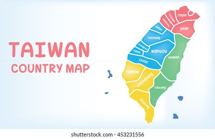 Vector of Taiwan administrative division. Bright gradient map of country in low poly style. Multicolored country map in geometric style for info graphic and textbook