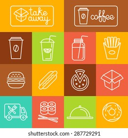 Vector take away food and coffee to go icons and labels in trendy linear style - fast food and cafe concepts