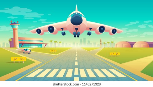 Vector takeoff of the plane on a landing strip for airplanes near of terminal, control room in tower. Asphalt runway - crossroad for passenger transportation, landscape with hangars, buildings.
