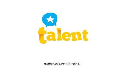 Vector talent logo with star, conversation, headhunting and business concept