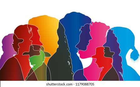 Vector talking crowd isolated. Dialogue between people. Colored silhouette profiles. Multiple exposure vector