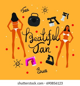 Vector tan spray machine and woman in bikini illustration with calligrpahy text