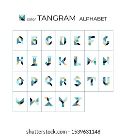 Vector tangram alphabet. 26 color isolated letters on a white background. Tangram children brain game cutting transformation puzzle vector set.