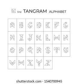Vector tangram alphabet. 26 linear isolated letters on a white background. Tangram children brain game cutting transformation puzzle vector set.
