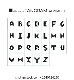 Vector tangram alphabet. 26 silhouette isolated letters on a white background. Tangram children brain game cutting transformation puzzle vector set.